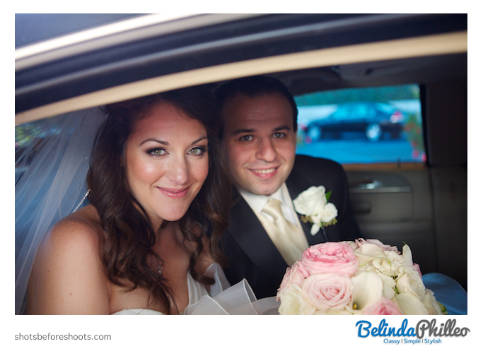 Bride and groom in their limo in front of The Hills Hotel Laguna Beach