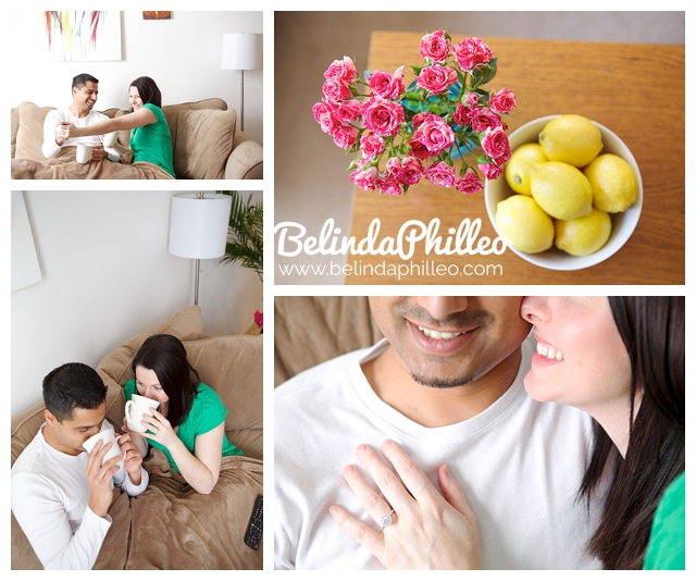 engagement photos of a couple enjoying a cozy day in