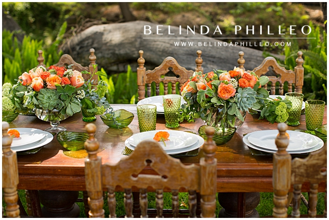 orange and green wedding floral arrangements