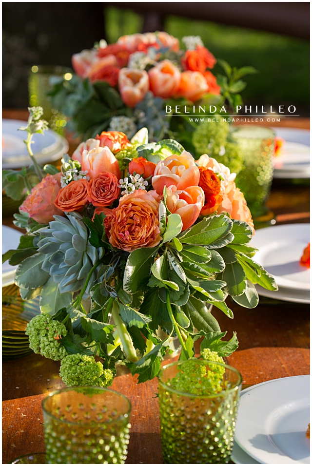 orange and green reception centerpieces