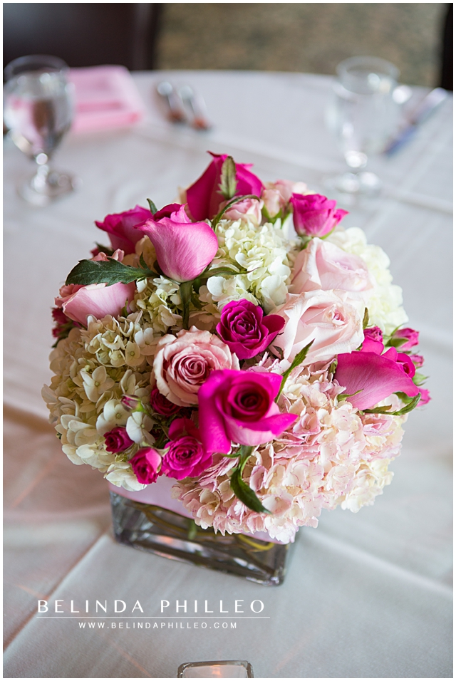 pink and white rose centerpieces