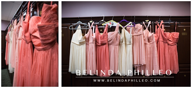 pink and white J. Crew bridesmaid dresses