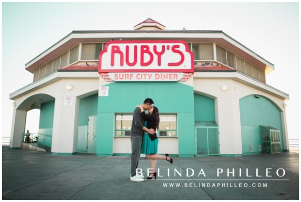 Huntington Beach Engagement Session | Ruby's Diner