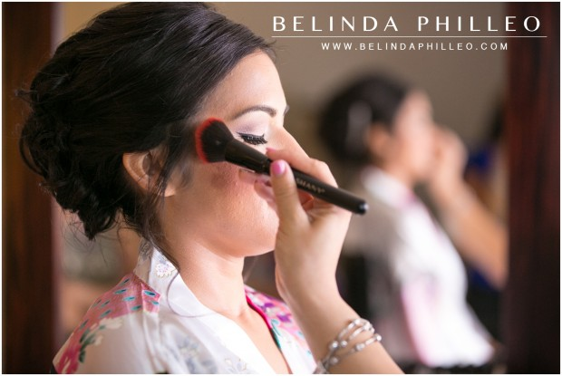 Bride gets her makeup done at the Anaheim Marriott Hotel