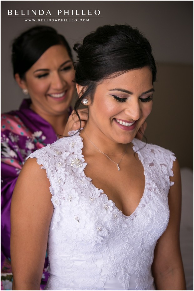 Bride gets ready for her wedding at the Anaheim Marriott Hotel