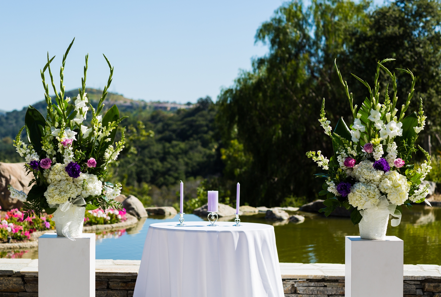 Wedding Ceremony overlooks golf course at Dove Canyon Country Club