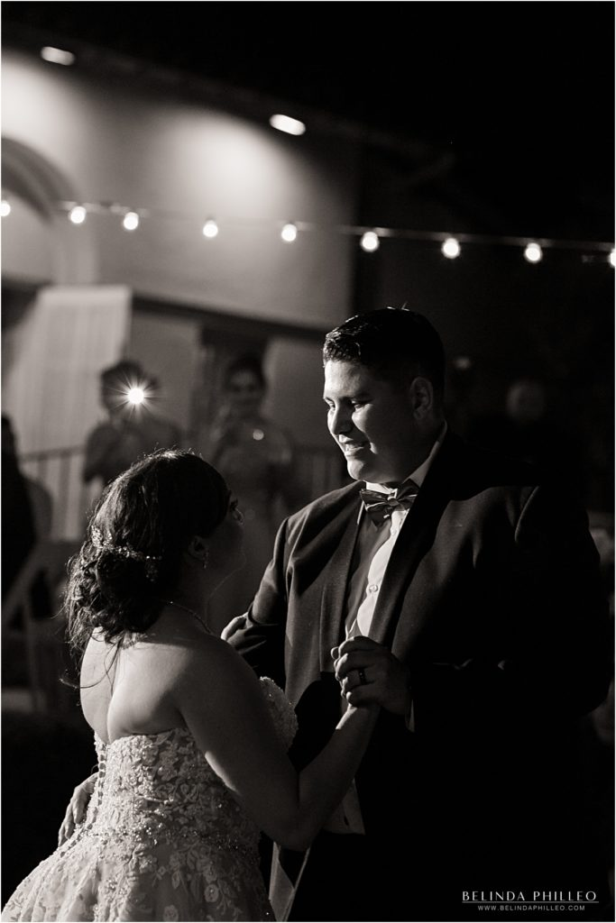 bride and groom enjoy their first dance at Kellogg House Wedding, Pamona, CA