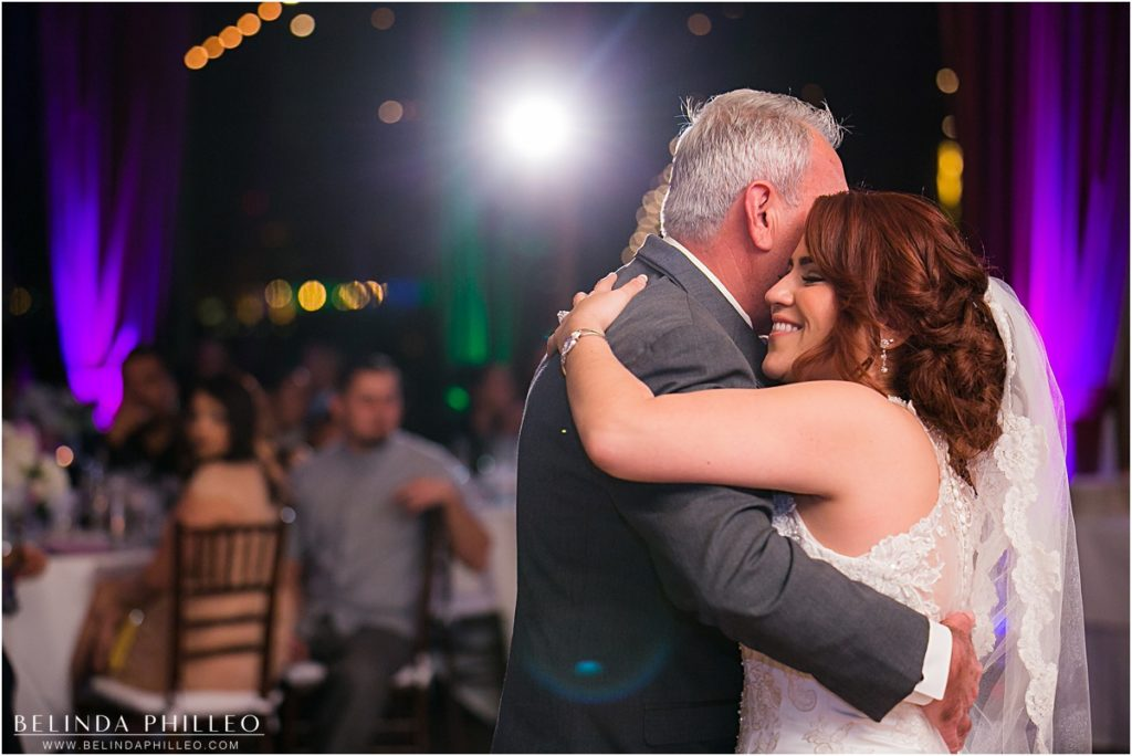 Bride dances with her father at Reef Restaurant wedding reception in Long Beach, CA. Photo by Belinda Philleo
