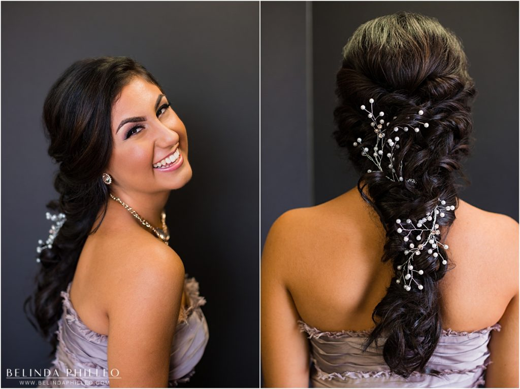 Bridesmaid hair and makeup by Label Me Lindsay bridal team, Los Alamitos, CA. Photo by Belinda Philleo