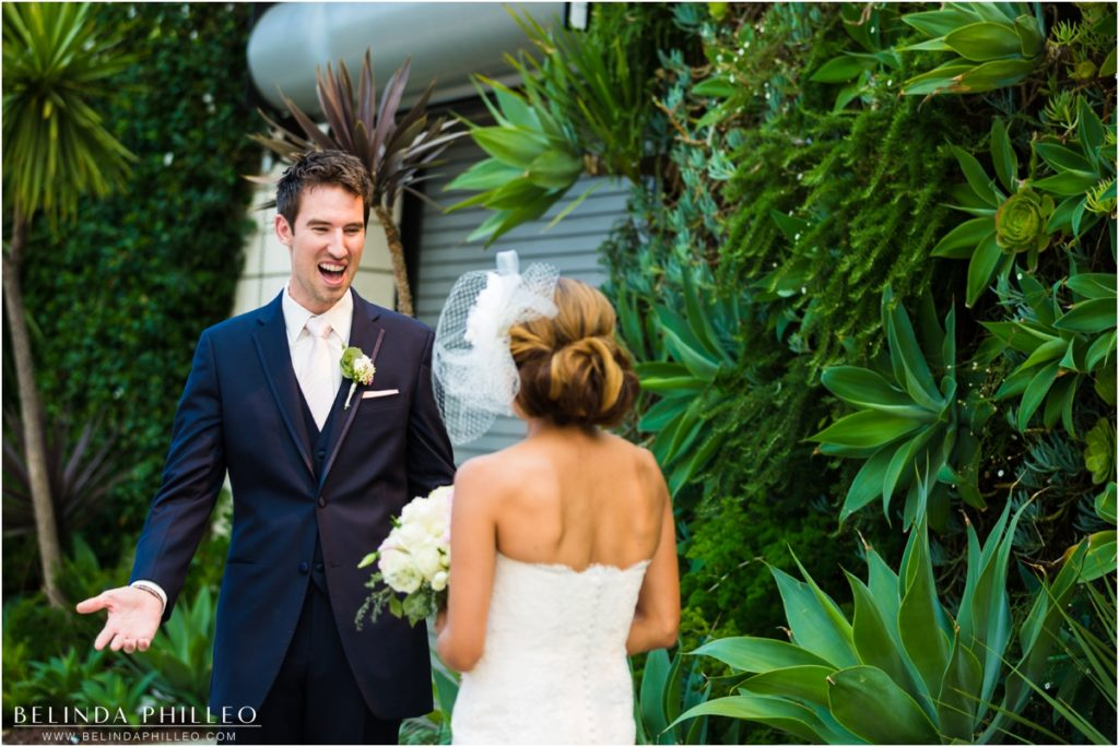 Groom's face during first look at Smog Shoppe Los Angeles wedding. Photo by Belinda Philleo