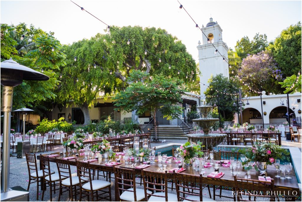 Reception tables for Los Angeles River Center and Gardens Wedding, Los Angeles, CA