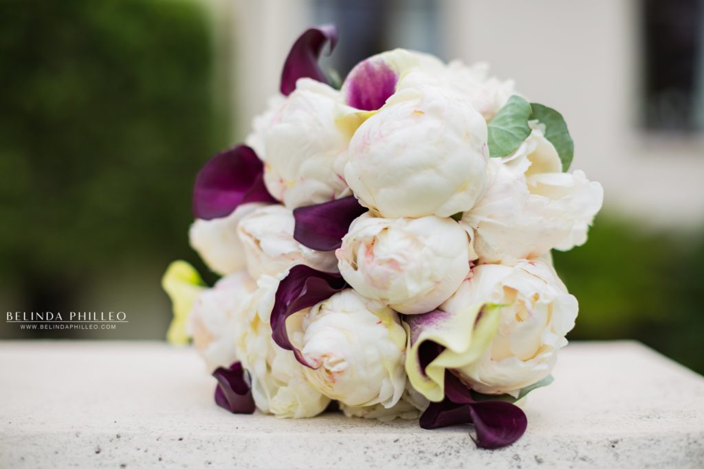 White Peonies and purple lilies bridal bouquet. Redondo Beach Historic Library wedding
