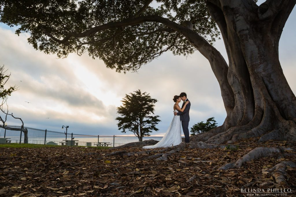Romantic bride and groom moment at Redondo Beach Historic Library Wedding. Photo by Belinda Philleo