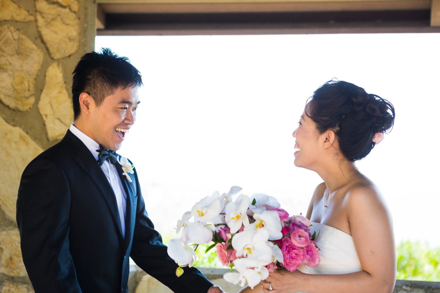 Bride and groom share first look at wayfarers chapel in Rancho Palos Verdes, CA