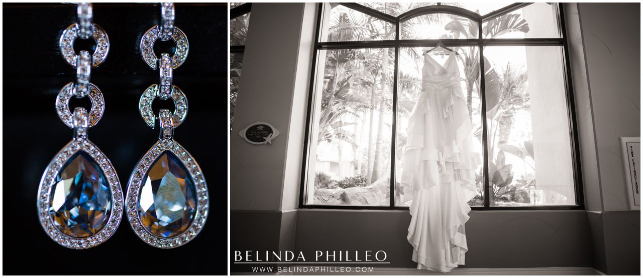 Bridal gown hanging in the window at Hilton Waterfront Resort Huntington Beach