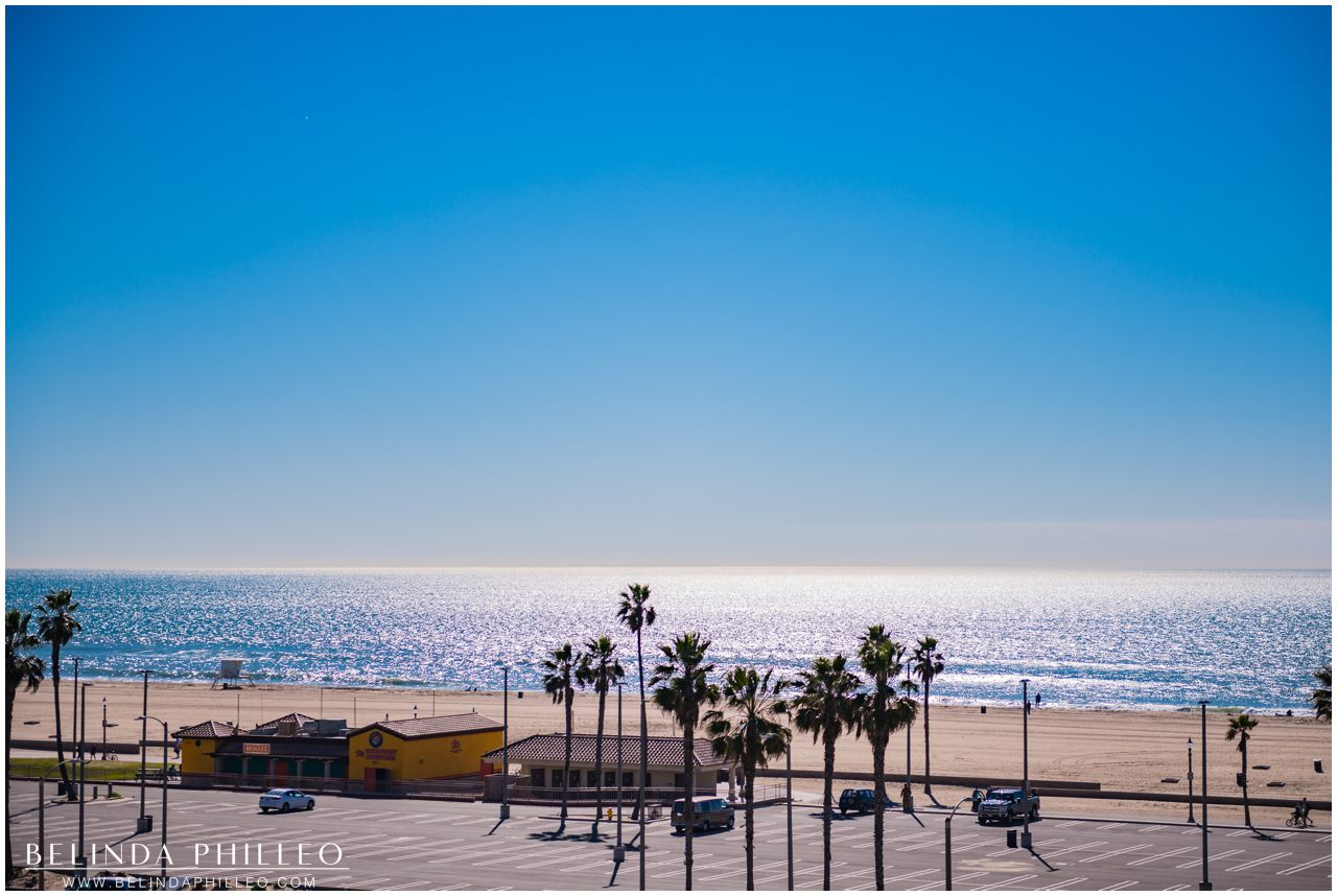 View of the beach from Hilton Waterfront Resort in Huntington Beach, CA