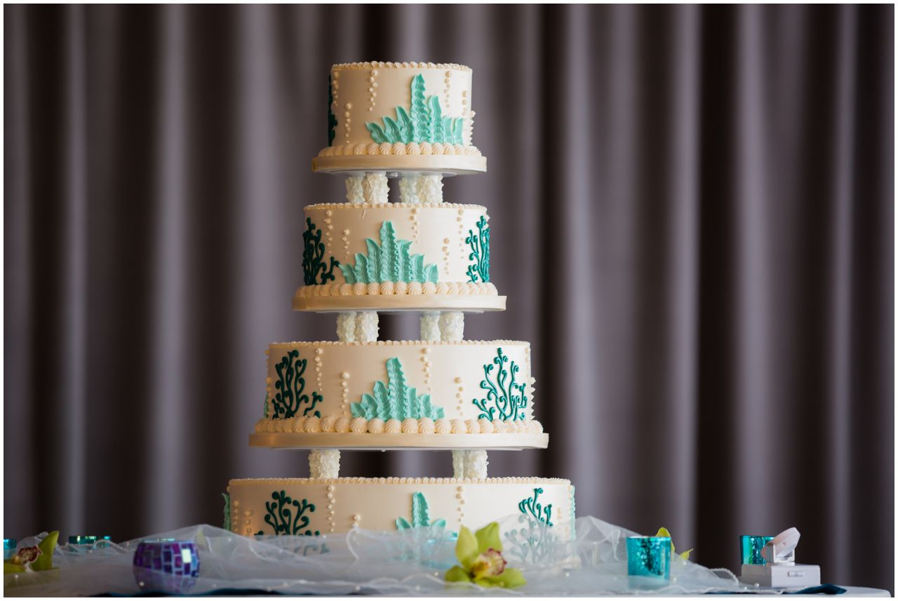Under the sea themed wedding cake. Wedding at Hotel Maya, Long Beach, CA