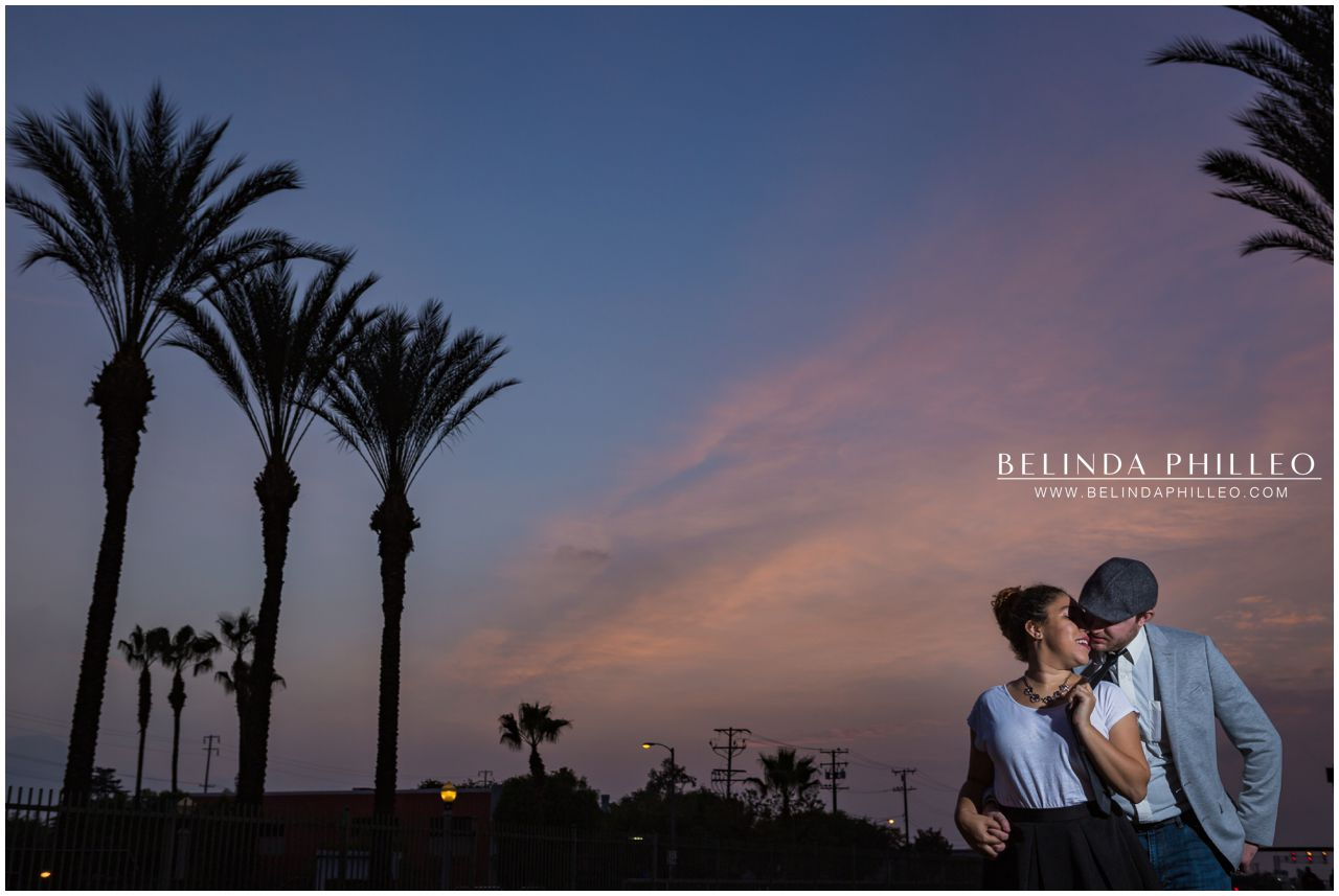 Romantic sunset at Downtown Fullerton Train Station. Photographed by Belinda Philleo