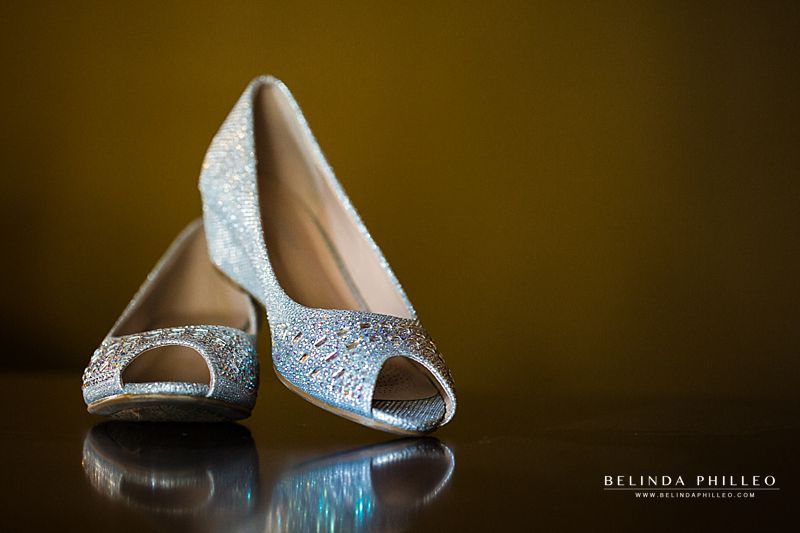 Short heeled wedding shoes with sparkle studs