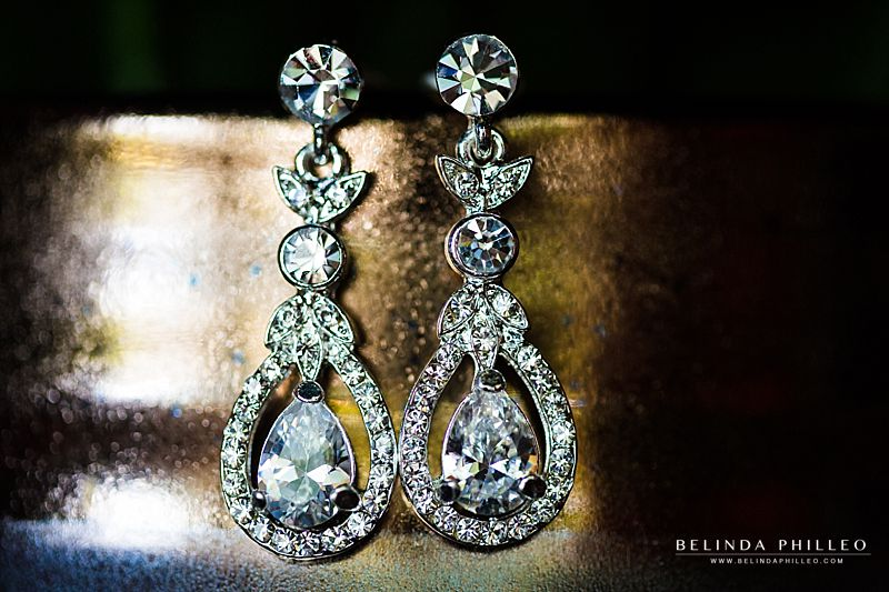 Dangling diamond wedding earrings