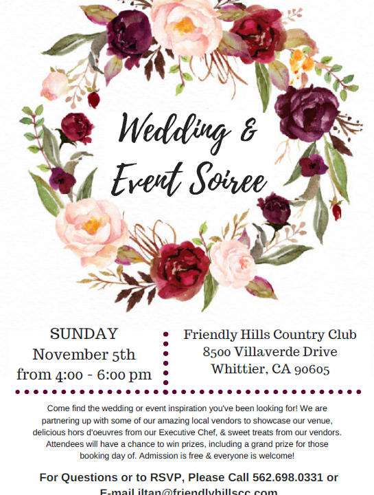 Wedding Soiree at Friendly Hills Country Club November 2017