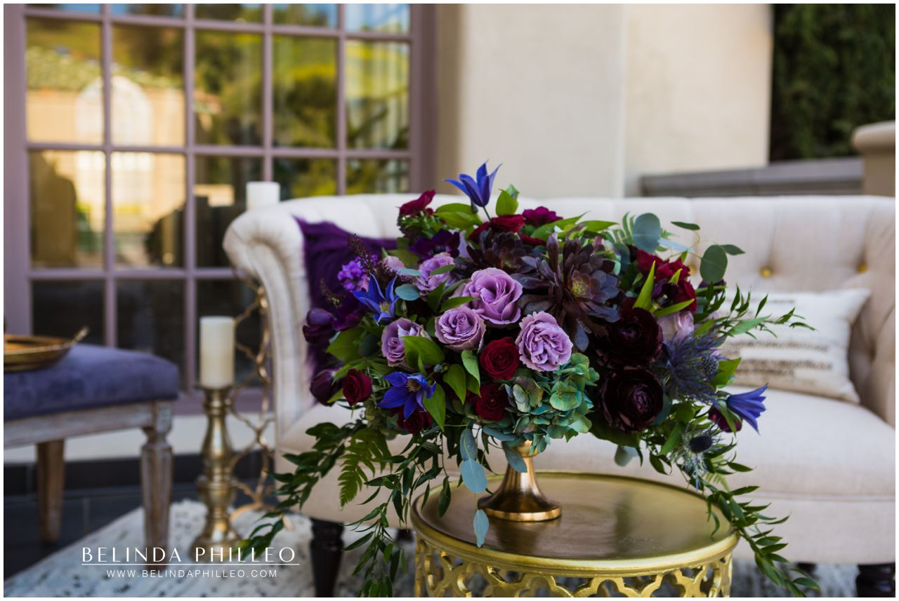black and purple wedding bouquet created by The Bloom of Time, Orange County, CA